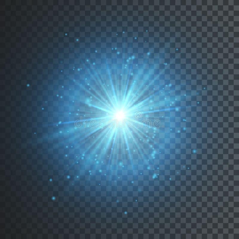 Световой эффект прозрачного зарева Взрыв звезды с Sparkles Голубой яркий блеск также вектор иллюстрации притяжки corel бесплатная иллюстрация