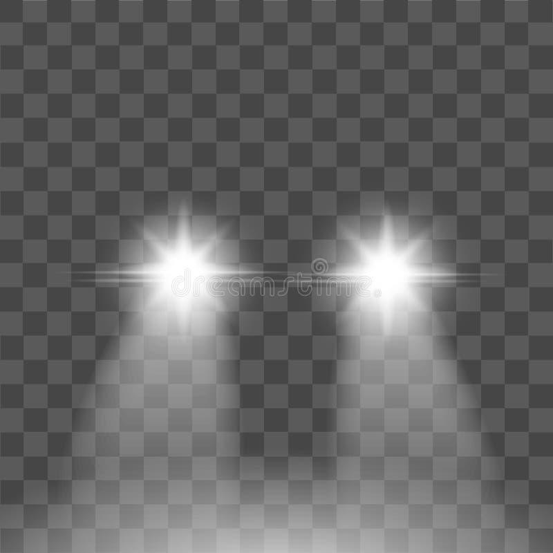 Световой эффект реалистического пирофакела автомобиля на прозрачной предпосылке вектор иллюстрация штока