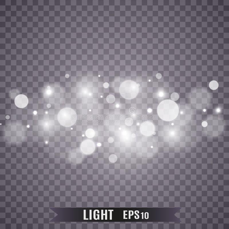 Световой эффект яркого блеска звезд особенный Вектор сверкнает на прозрачной предпосылке r стоковое изображение