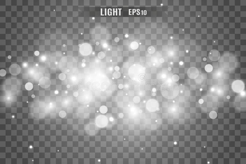 Световой эффект яркого блеска звезд особенный Вектор сверкнает на прозрачной предпосылке r стоковое фото