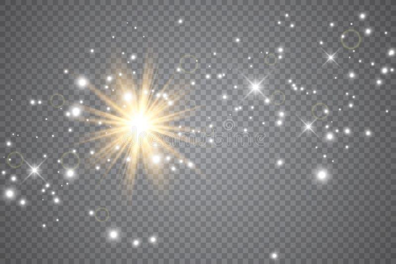 Световой эффект яркого блеска искр особенный Вектор сверкнает на прозрачной предпосылке Картина рождества абстрактная бесплатная иллюстрация