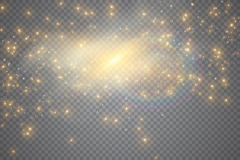 Световой эффект яркого блеска искр особенный Вектор сверкнает на прозрачной предпосылке Картина рождества абстрактная иллюстрация штока