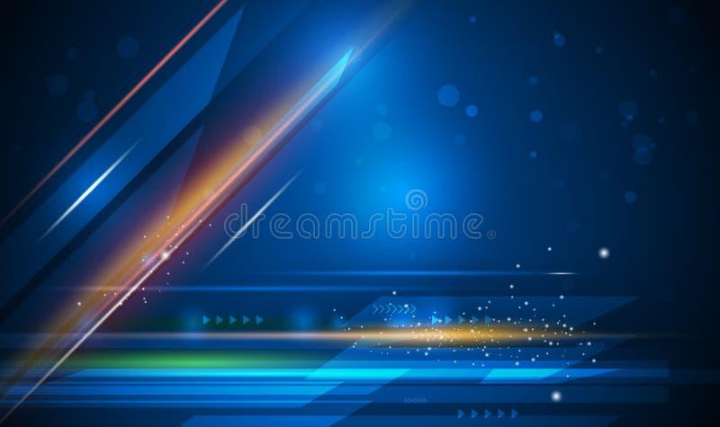 Световые лучи вектора, линии нашивок с голубой нерезкостью света, скорости и движения над темно-синей предпосылкой иллюстрация вектора