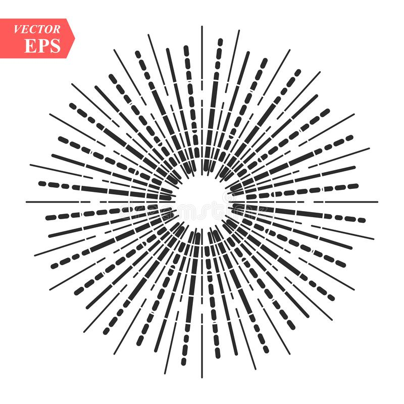 Световые лучи, sunburst и лучи солнца Конструируйте элементы, линейный чертеж, винтажный стиль битника Sunburst световых лучей, с иллюстрация вектора