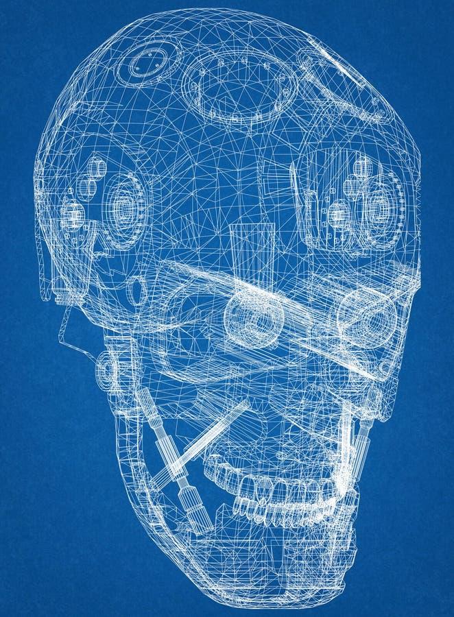 Светокопия архитектора дизайна головы робота бесплатная иллюстрация