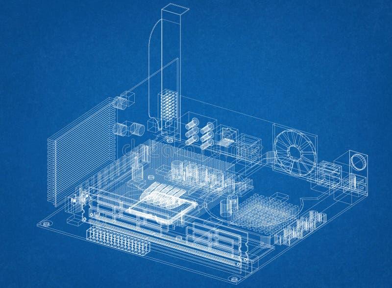 Светокопия архитектора дизайна материнской платы компьютера иллюстрация вектора