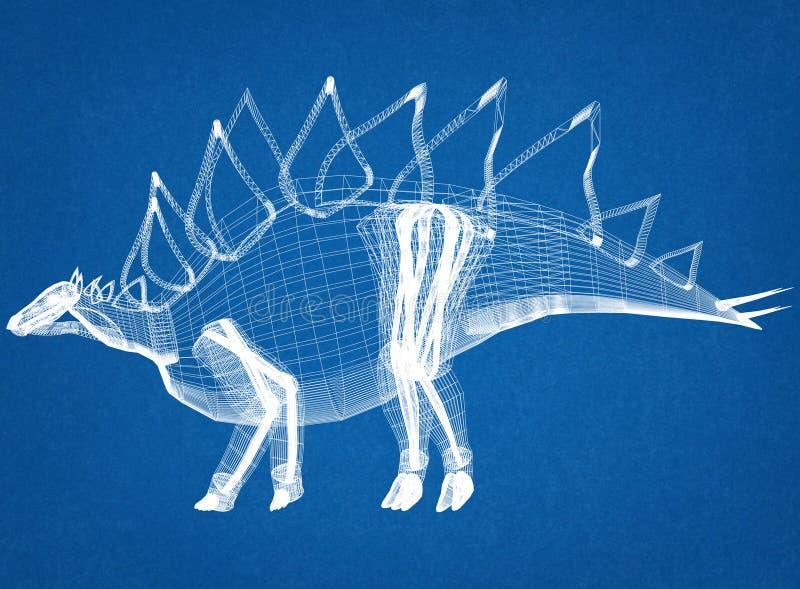 Светокопия архитектора динозавра стоковое фото rf
