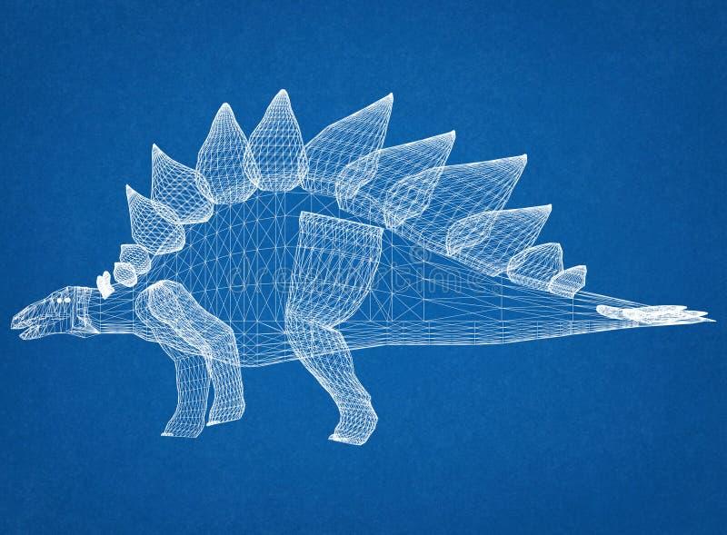 Светокопия архитектора динозавра стоковая фотография rf