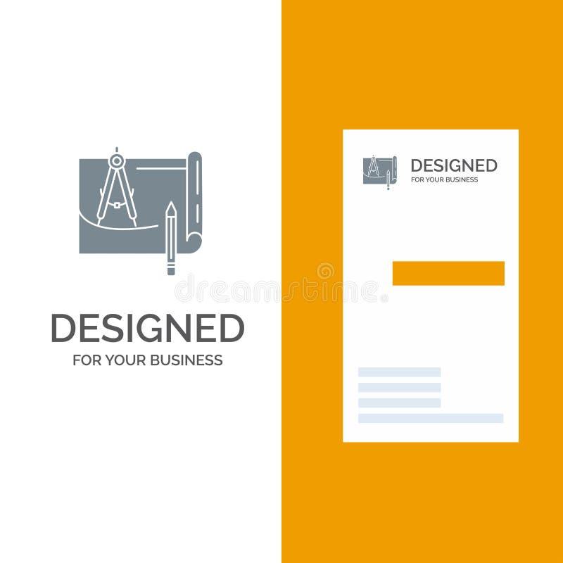 Светокопия, архитектура, светокопия, конструкция, бумага, дизайн логотипа плана серые и шаблон визитной карточки иллюстрация штока