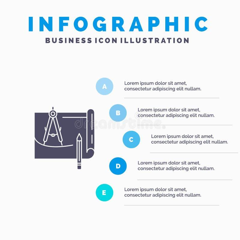 Светокопия, архитектура, светокопия, конструкция, бумага, предпосылка представления шагов Infographics 5 значка плана твердая иллюстрация штока