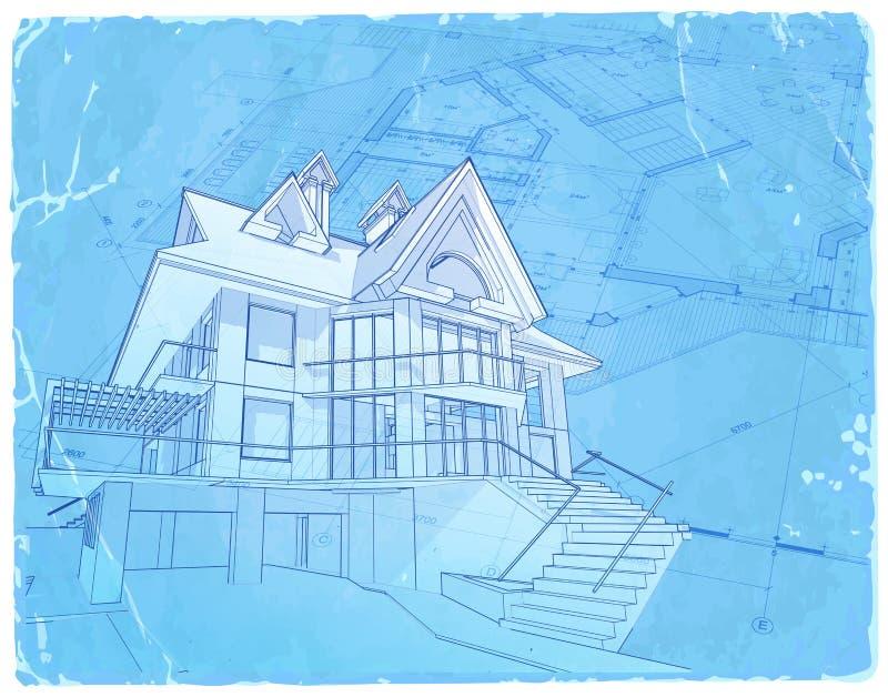 Светокопия архитектуры - дом & план бесплатная иллюстрация