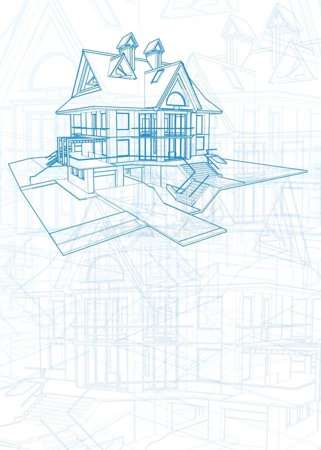Светокопия архитектуры - дом иллюстрация вектора