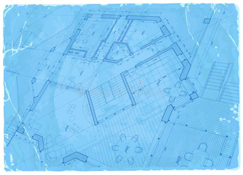 Светокопия архитектуры - план дома иллюстрация штока