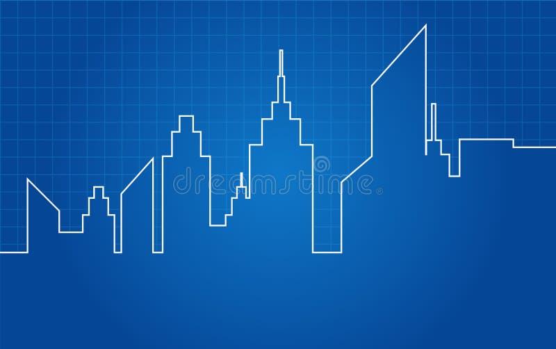 Светокопия горизонта небоскребов города архитектурноакустическая иллюстрация вектора