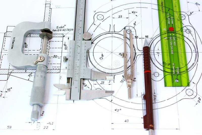светокопия проектируя 5 инструментов стоковая фотография