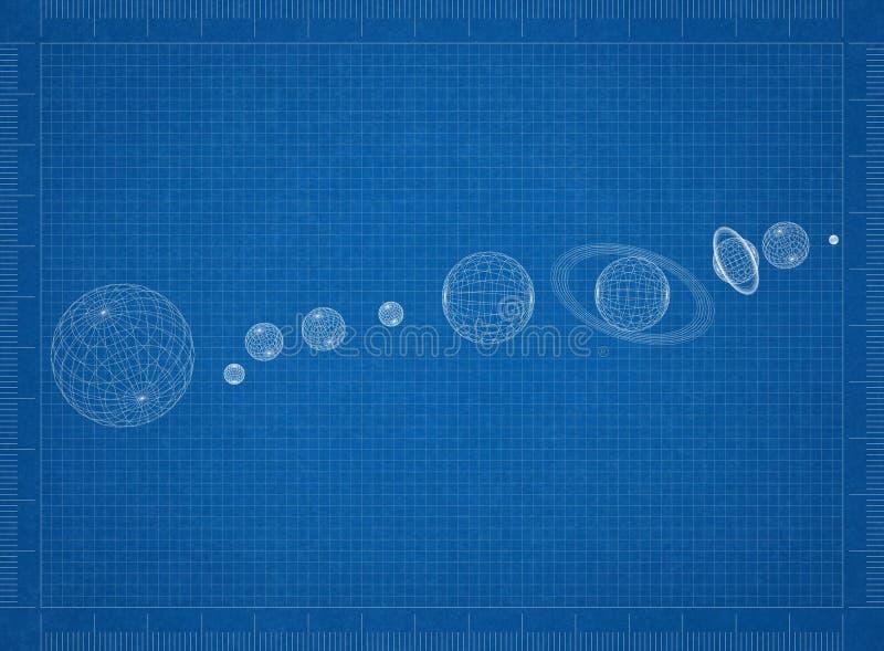Светокопия солнечной системы иллюстрация штока