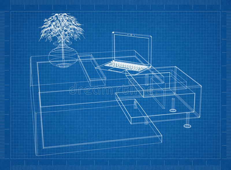 Светокопия таблицы 3D компьютера Moder иллюстрация штока