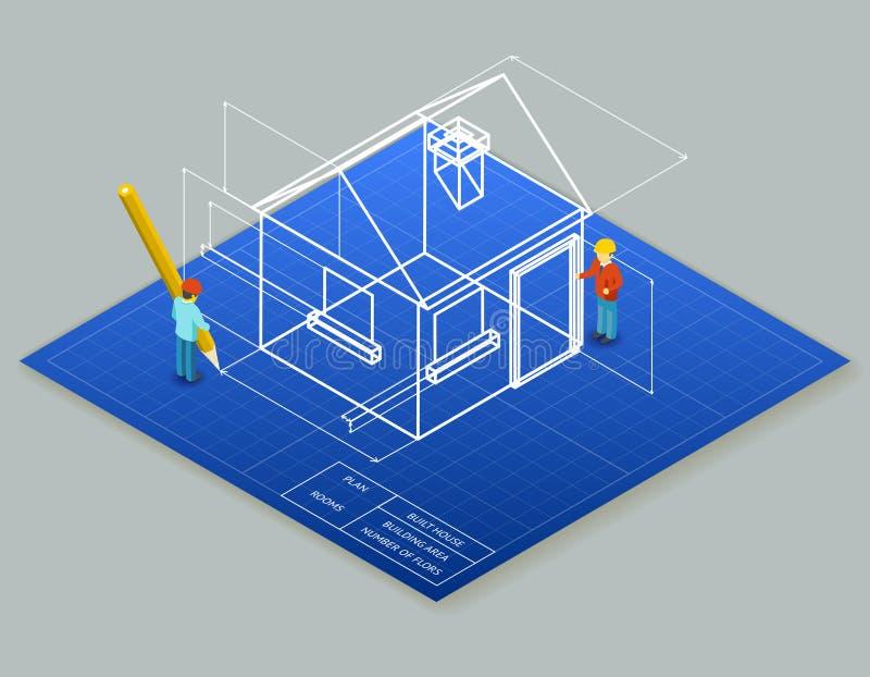 Светокопия чертежа 3d архитектурного дизайна иллюстрация вектора