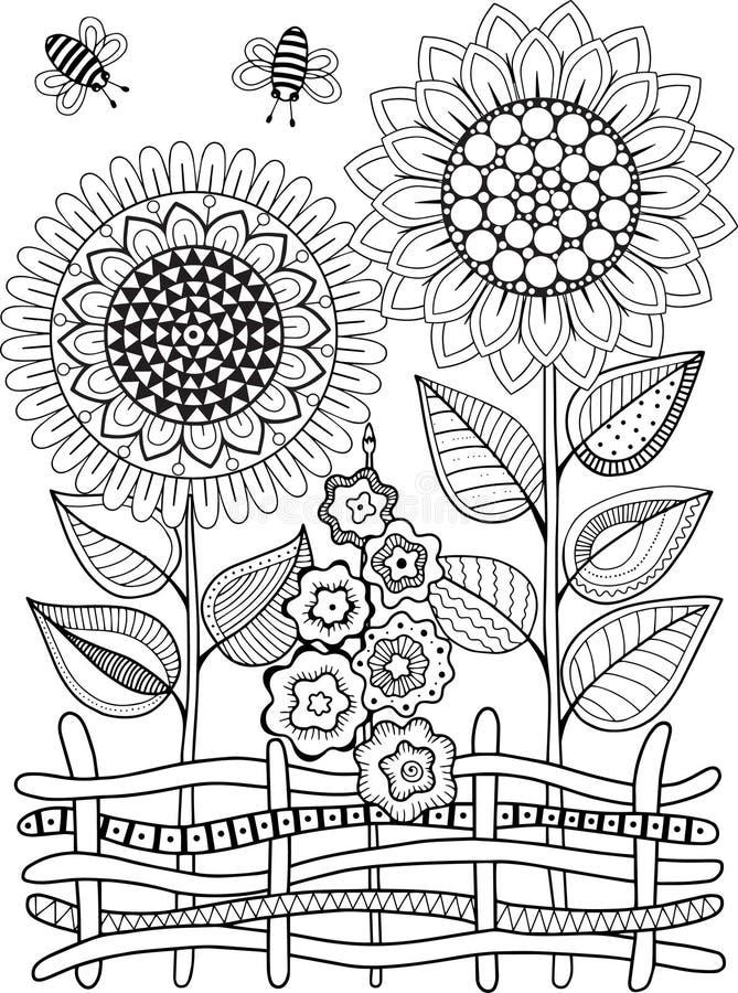 Светотеневое sunflowe лета изолированное на белизне Абстрактная предпосылка doodle сделанная цветков и бабочки Страница расцветки бесплатная иллюстрация