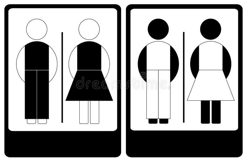Светотеневой знак мужчины и женщины стоковое фото rf