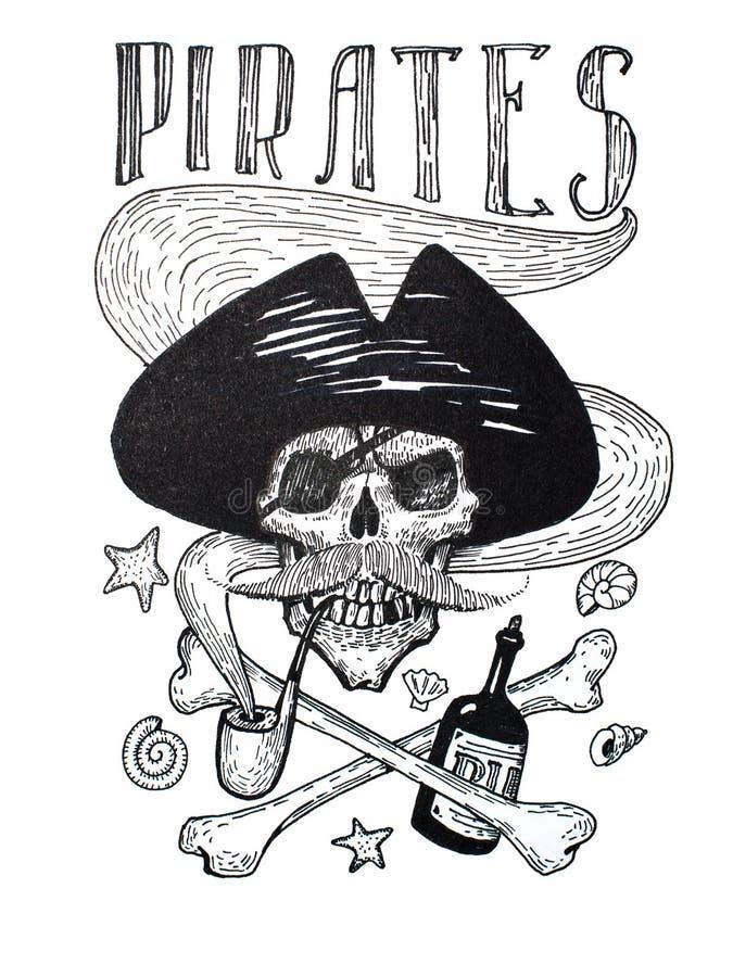 Светотеневой чертеж состава атрибутов пиратов: череп, усик, анкер, ром и косточки иллюстрация штока