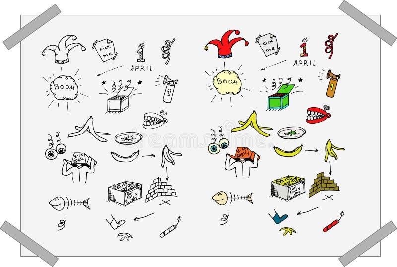 Светотеневые и красочные установленные doodles дня ` s дурачка бесплатная иллюстрация