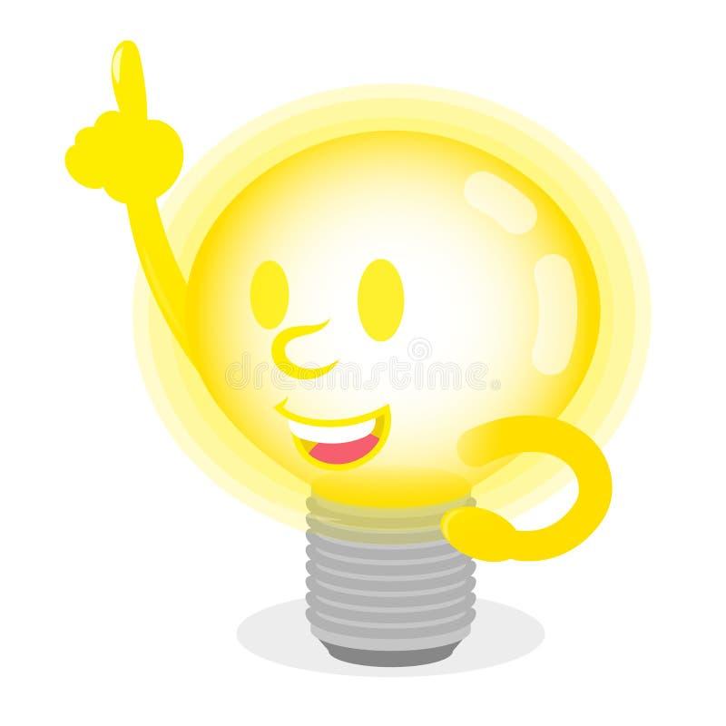 Светящая лампа с хорошей идеей иллюстрация штока