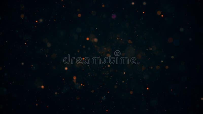 Светящиеся частицы, звезды и искрящийся поток, абстрактный фон стоковая фотография rf