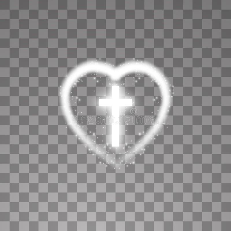 Светя белый крест с сердцем на прозрачной предпосылке Накаляя крест Святого также вектор иллюстрации притяжки corel иллюстрация штока