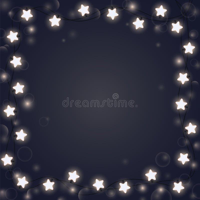 Светя гирлянда формируя квадратную рамку бесплатная иллюстрация