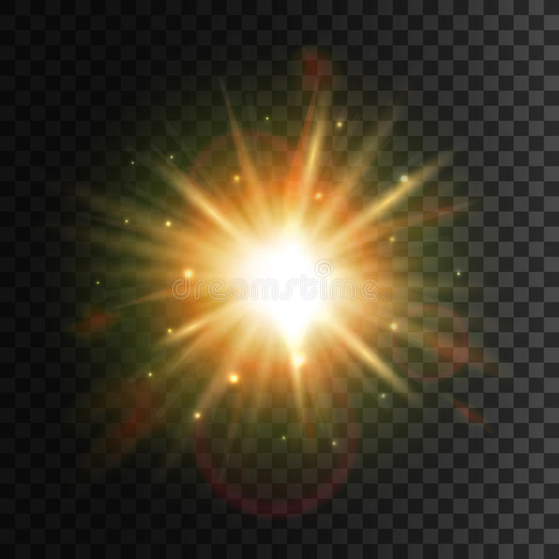 Светя звезда Яркое влияние пирофакела объектива света солнца иллюстрация штока