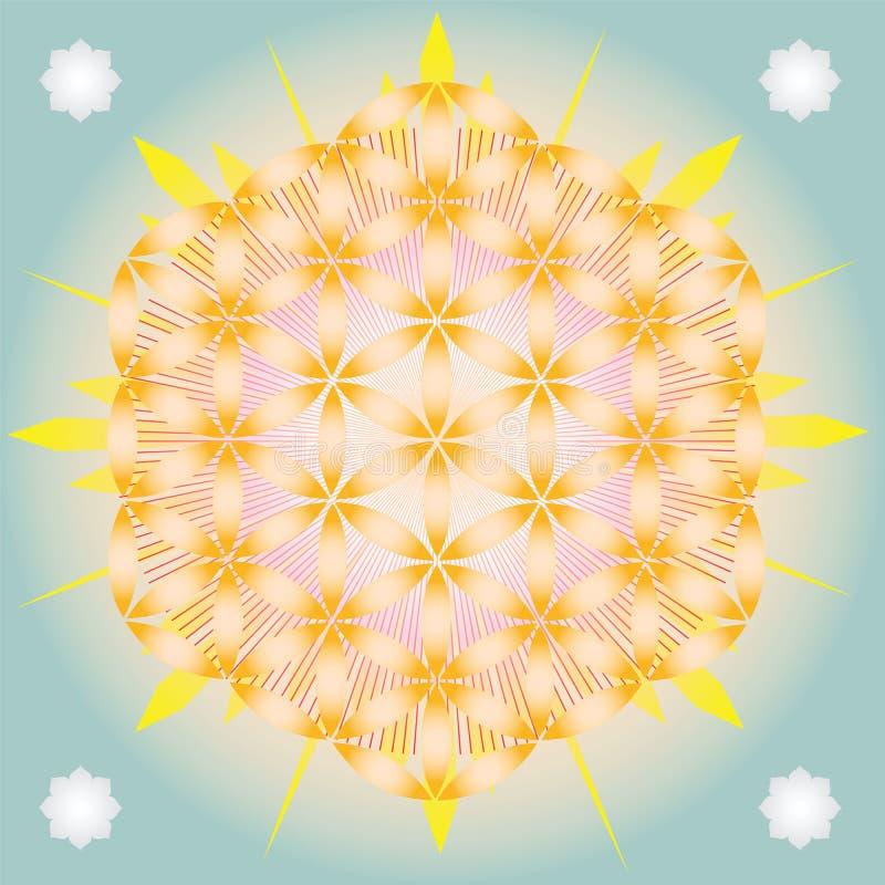 Светя цветок жизни иллюстрация штока