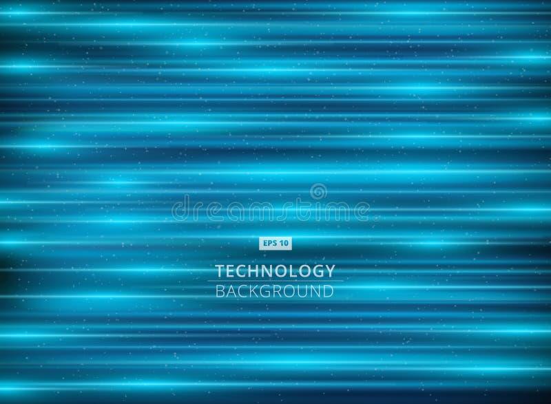 Свет абстрактной технологии - голубая предпосылка лазера горизонтальная иллюстрация вектора