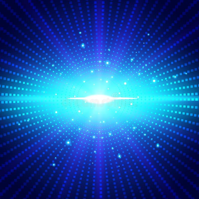 Свет абстрактной технологии футуристический голубой неоновый радиальный разрывал effe иллюстрация вектора