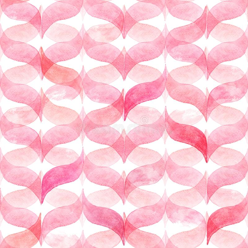 Свет акварели - розовая предпосылка с изогнутой волнистой холстинкой геометрическая картина безшовная иллюстрация штока