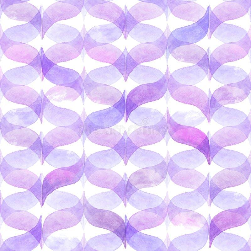 Свет акварели - розовая предпосылка с изогнутой волнистой холстинкой геометрическая картина безшовная иллюстрация вектора