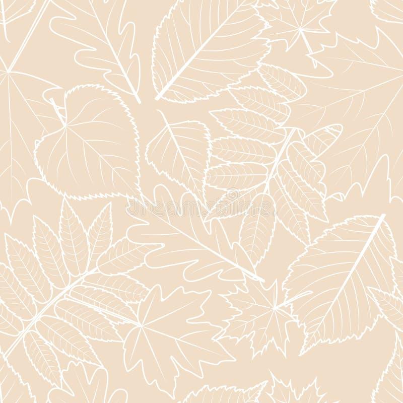 Светлая бежевая предпосылка с листьями осени плана нарисованными рукой Картина падения вектора безшовная бесплатная иллюстрация
