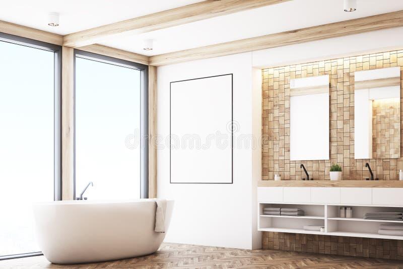 Светлая ванная комната плитки, плакат, угол иллюстрация штока