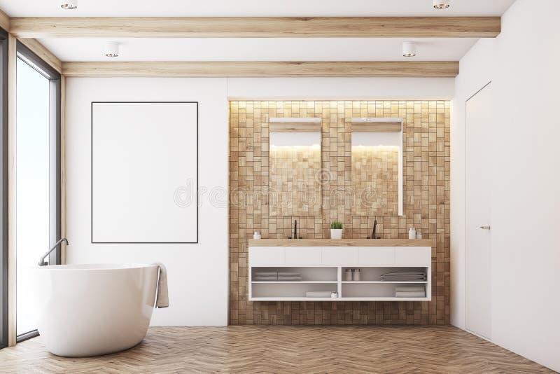 Светлая ванная комната плитки, плакат бесплатная иллюстрация