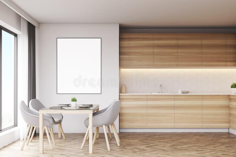 Светлая деревянная кухня с таблицей и плакатом иллюстрация вектора