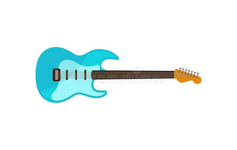 Свет - голубая электрическая гитара, иллюстрация вектора аппаратуры рок-музыки на белой предпосылке бесплатная иллюстрация