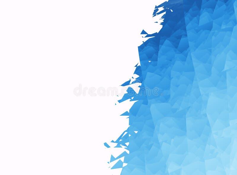 Свет - голубое белое современное абстрактное искусство фрактали Простая иллюстрация предпосылки с сломленными частями в космосе м иллюстрация вектора
