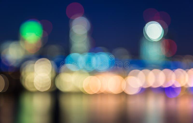 Свет горизонта города предпосылки Boken стоковое фото