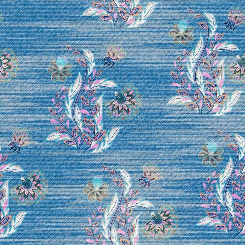 Свет - голубая джинсовая ткань с красочным цветочным узором Красивая орнаментальная флористическая безшовная предпосылка Притяжка иллюстрация штока