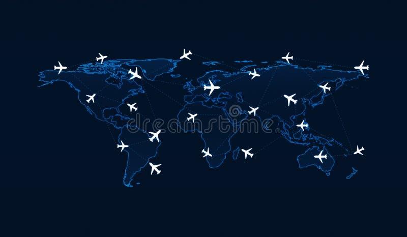 Свет - голубая карта мира с самолетами трасс полета на голубом backgr иллюстрация штока