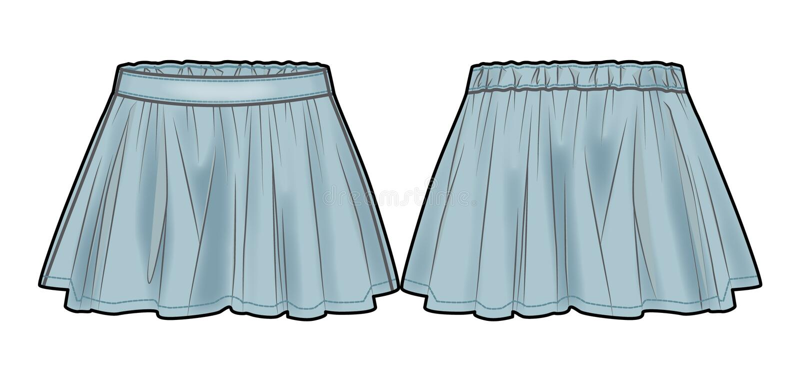Свет - голубая flared юбка джинсовой ткани иллюстрация вектора