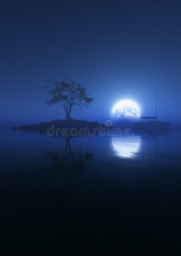 Свет голубой луны плавает вертикаль иллюстрация штока