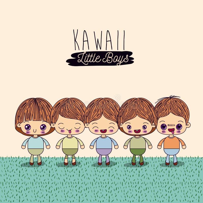Свет - желтая предпосылка установила 4 милых полных мальчика kawaii тела в траве иллюстрация вектора