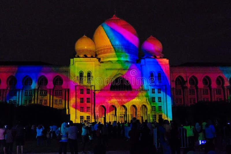 Свет и движение фестиваля в Путраджайя, Малайзии стоковое фото rf