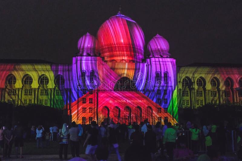 Свет и движение фестиваля в Путраджайя, Малайзии стоковая фотография